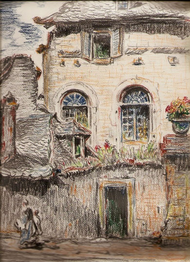 Maison à la toiture de lauzes, dessin rehaussé de couleur.