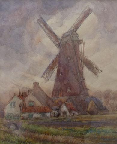 Moulin Hollandais peint vers 1935. Grande aquarelle 55x45.