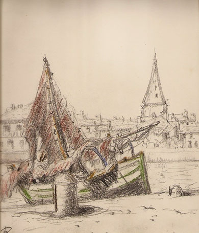 Barque au quai, sans doute dans le port de Honfleur. Dessin rehaussé de couleurs.
