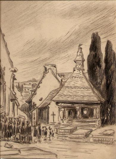 Oratoire du Sacre ( primitivement destiné à la Confrérie du Saint Sacrement d'où son nom Oratoire du Sacre ) dans le cimetière de Saint Jean du Doigt dans le Finistère.