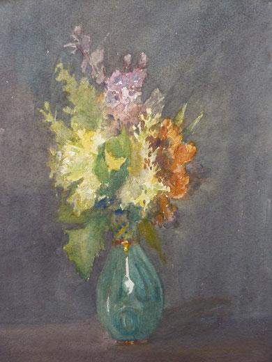 Bouquet éclatant sur un fond très sombre. Impossible à dater avec précision.