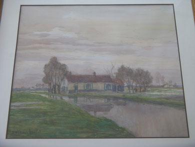 Vue d'un canal du nord de la France ou dans la région de Bruges, vers 1930.