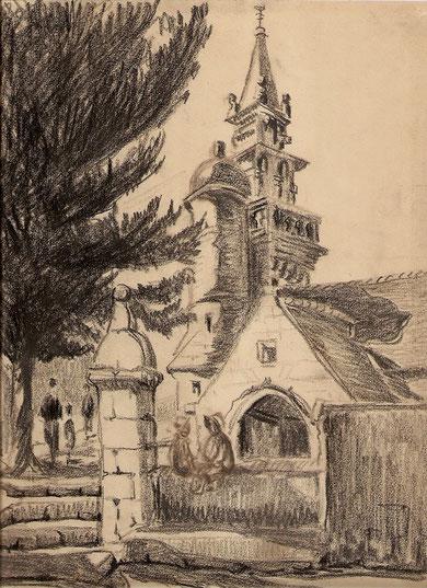 Eglise Saint Pierre de Coatreven dans les Côtes d'Armor. Au premier plan deux petits personnages rehaussés de couleur. De plus l'arbre imposant cachait l'autre batiment.