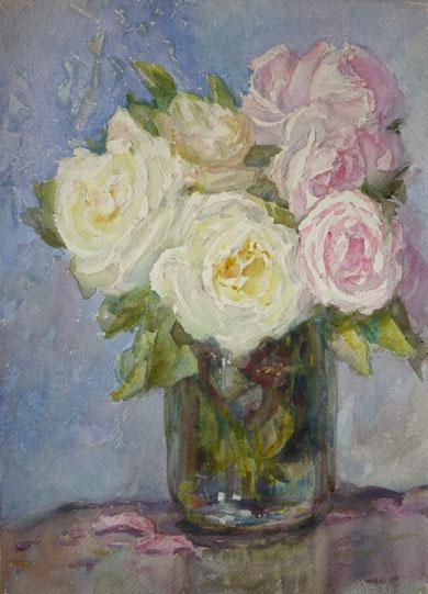 Bouquet en vase de verre.