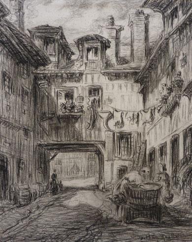 Honfleur, Quartier des corsaires, 1935. Ce quartier devait border l'ancienne rue Gambetta mais il n'existe plus. La plupart du temps elles ont servi pour agrandir des boutiques donnant sur la rue.