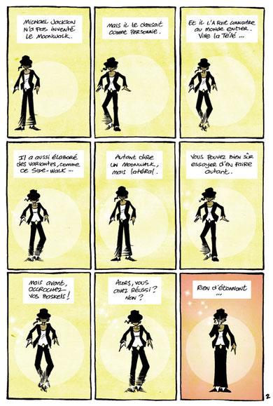 """Domas, page 2 de l'histoire """"L'homme qui glisse sur les nuages"""""""