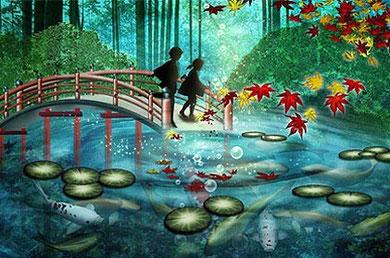 池の鯉 Art by Yuki Shougaki