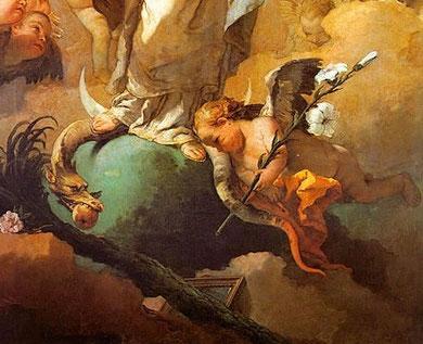Detalle de Inmaculada Concepción de Tiépolo con sus atributos marianos, azucenas,espejo, palmera, rosa, luna y serpiente...Elle es la mujer predestinada (Génesis 3,14) la que iba con su descendencia a aplastar la serpiente infernal..