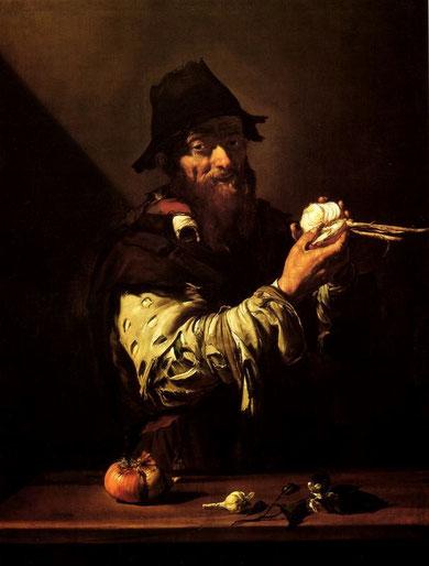 """""""El olfato"""" 1616,colección Juan Abelló. Ribera recurre a las mismas estrategias narrativas del resto de la serie, llama la atención la inmediatez de su contenido, una lágrima delata la experiencia personal para advertir el olor a cebolla..."""