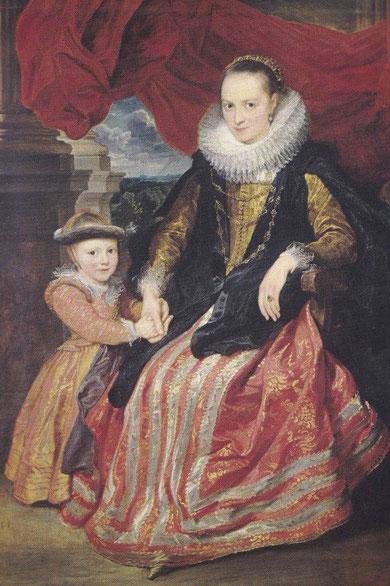 Van Dyck.Susana Forurment y su hija Clara.1621.Óleo sobre lienzo.172X117cm.Era hija de un comerciante de sedas y tapices muy allegado a Rubens. Esta niña acabaría casando con el hijo de Rubens. Retrato burgués de escenografia suntuosa propia de Venecia