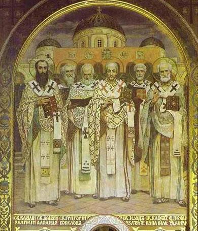 San Basilio, San Gregorio, San Juan Crisóstomo, San Atanasio y el Papa Clemente I, Catedral Vladimir,San Petersburgo