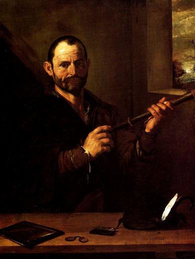 """""""La vista"""",Méjico, Museo Franz Mayer. Es sin duda la imagen de mayor  interés desde el punto de vista iconográfico:un hombre de mirada inteligente, escrutadora y  como atributos las lentes, espejo y catalejo, incorporando una tecnología puntera y sútil."""