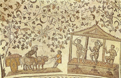 Mosaico del Mausoleo de Santa Constanza, Roma, 350, escenas de vendimia, las hojas de vid son motivos cristianos