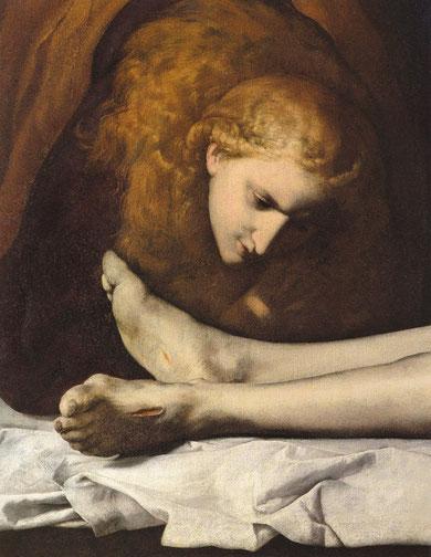 Magdalena a los pies de Cristo, en la radiografía del cuadro revela que su rostro estaba mucho más cerca de los pies de Cristo, como si dispusiera a besarlos,luego lo cambió.