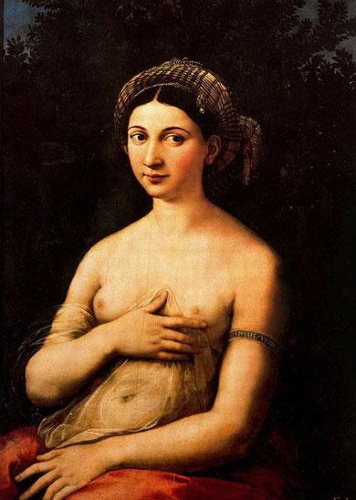 Rafael. La Fornarina.1520.Óleo sobre tabla. Palacio Barberini. Roma. Podría ser Venus, el brazalete y mirto o la encarnación de la verdad.