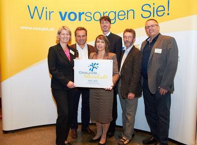 Foto von links: Landesrätin Mag. Karin Scheele, RegR BSI Martin Seidl, VD Gabriele Winkelhofer,MA, BGM Franz Göd, VOL Hermann Zach und Gerhard Hutterer v. d. NÖGKK
