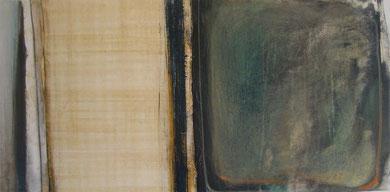 Andrea Ridder: O.T., Papyrus, Acrylfarbe & Ölkreide auf LW, 40 x 80 cm