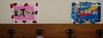 Etiquettes de porte-manteaux (pastels gras et collages)