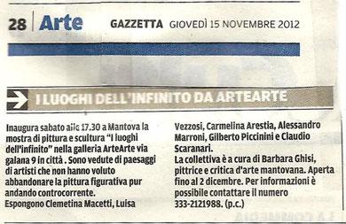 """Articolo della """"Gazzetta di Mantova"""""""