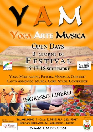 yam festival carmagnola torino - yoga meditazione pittura mandala concerti canto armonico musica corsi stage conferenze