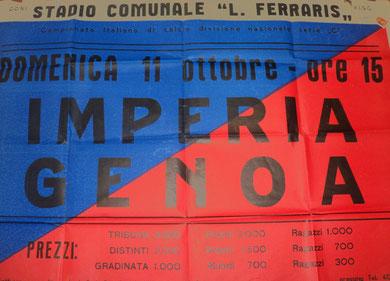 Manifesto partita, poi rimandata al 04-11-1969 per impraticabilità di campo
