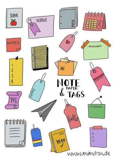 Notizzettel, Notepaper, Tags, Anhänger, Sketchnotes, Doodles, How to draw, Step by step, tutorial, schritt für schritt Anleitung, malen