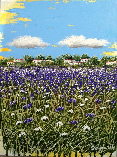 marco saporiti - paesaggio in viola - acrilico tela - 30 X 40