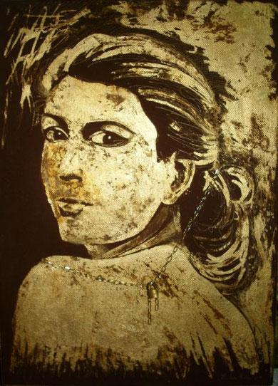 La Neve Marcello – Amore Platonico  - olio e foglia oro su tela - 50 X 70