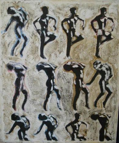 Izzo Raimondo - Corpi - reiterazioni - tecnica mista tavola - 83 X 100