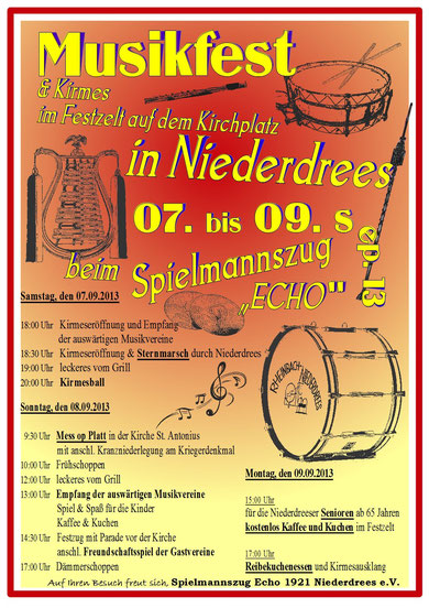 Echo Niederdrees Spielmannszug Tamboukorps 2013 Plakat Kirmes Musikfest