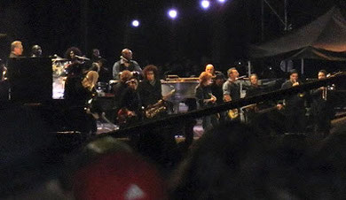 Rock History: Springsteen and McCartney, together, on the same stage!  Moments later it all went very, very quiet (Thanks to another Writer who Rocks, Laura Smith, for the photos)