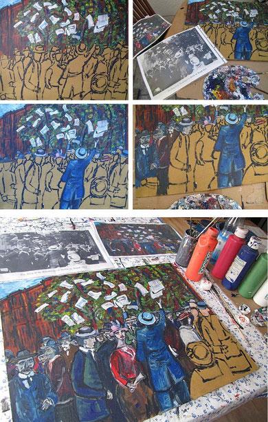 Der Krieg ist da 2, Phasen der Entstehung des Gemäldes 2011, 1.WK, WW1, Jens Walko Kunst