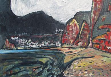 Les falaises rouges (à Fécamp), 2011,  Hommage à Friboulet, 50x70cm, Jens Walko