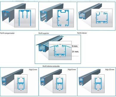 Perfilería de aluminio para cortina de vidrio