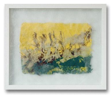 Handgeschöpfte farbige Papiermasse, Rupfen, Vlies, 50 x 60 cm