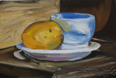 Lemon on a Saucer, 50/40cm oil on papier huile