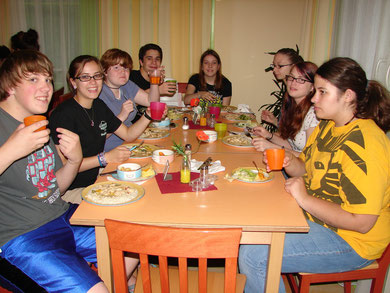 Students having dinner at Youth Hostel near Innsbruck