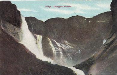 Alte Postkarte, der Skjeggedalsfossen am Ringedalsvatnet