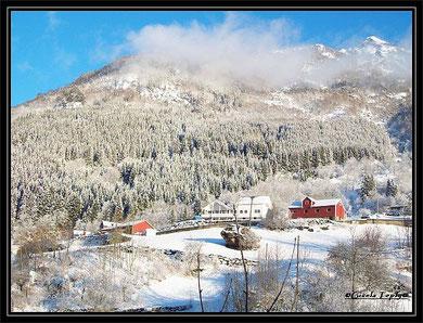 Blick auf das winterliche  Hjøllo