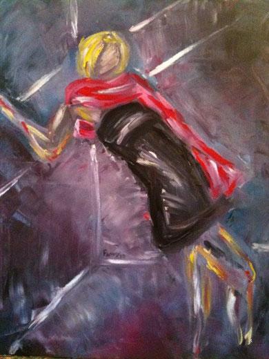 Le foulard - Huile - 50 x 61