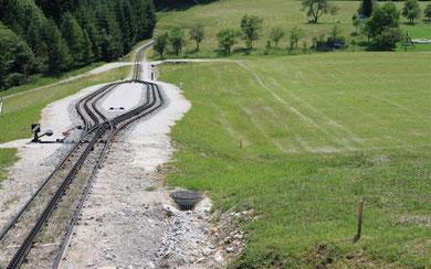 Die Gleise sind die starken Linien und in der Wiese sind vom Mähen leichte Linien. Dieses Bild entstand auf dem Schafberg.