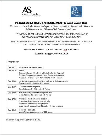 Il seminario del 4 maggio 2009