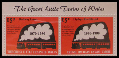 The Great Little Trains of Wales, 1970-1980 Tenth Anniversary pair in English and Welsh.