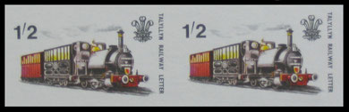 Talyllyn Railway: 1965 Investiture of H.R.H. Price of Wales. Colour trial imperforated pair.