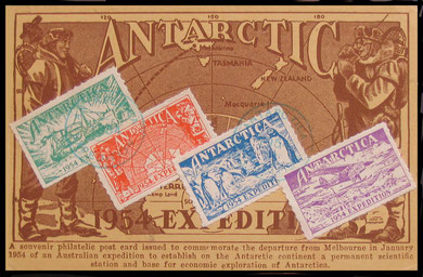 "An illustrated ""Antarctic"" postcard showing the four different values and cancelled."