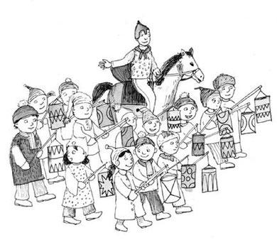Zeichnung Martinsumzug mit Kindern