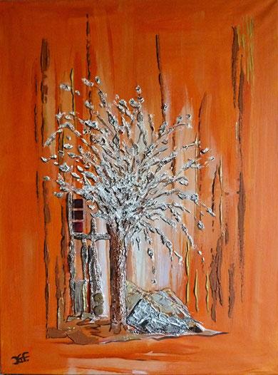 Bilf in Orange mit gespachteltem Silberbaum.