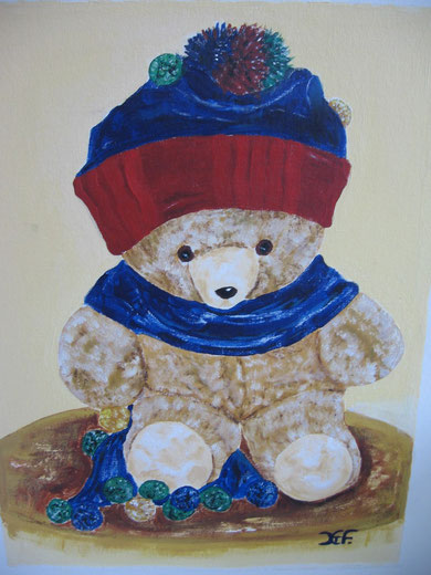 Teddy mit Mütze  Acrayl   40x50 cm