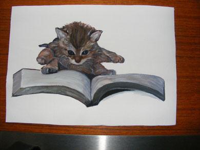Verschenkt: Kätzchen mit Buch