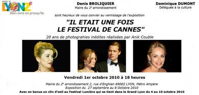 """Carton d'Invitation de l'Exposition d'Anik Couble """"Il était une fois le Festival de Cannes"""" à la mairie de LYON 2e"""